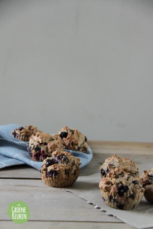 Bosbessenmuffins |De Groene Keuken #vegan #veganmofo #vgnmf15