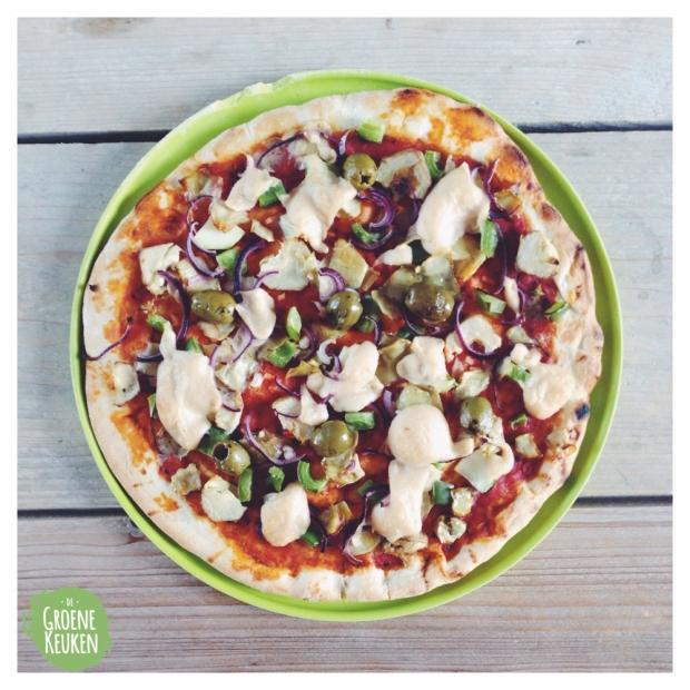 snelle pizza |De Groene Keuken #vegan #veganmofo #vgnmf15