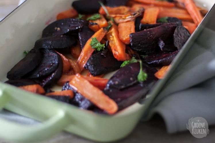 Geroosterde biet en wortel met zoete  De Groene Keuken